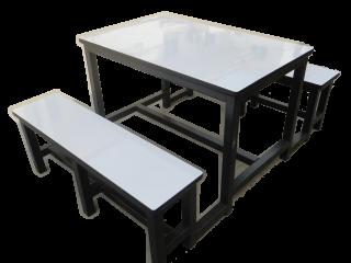 โต๊ะโรงอาหารไม้ปาติเกิล หน้าโฟเมก้าขาว 25 มม.