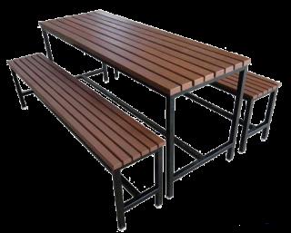 โต๊ะโรงอาหารไม้ระแนง ขาตาย