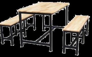 โต๊ะโรงอาหารไม้ยางเคลือบผิว ขาพ่นดำ