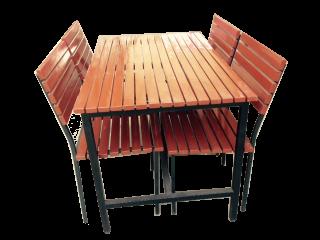 โต๊ะโรงอาหารไม้ระแนง พร้อมเก้าอี้เดี่ยว