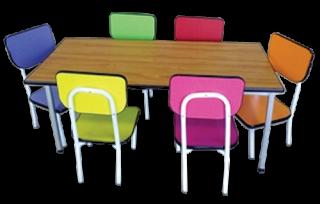 โต๊ะอนุบาลแฟนซีหลากสี พร้อมเก้าอี้