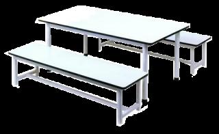 โต๊ะอนุบาลหน้าโฟเมก้าขาว ม้านั่งยาว