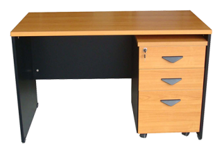 โต๊ะทำงานโล่ง พร้อมตู้ลิ้นชัก 3 ชั้น