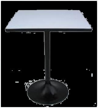 โต๊ะอาหารหน้าโฟเมก้าขาว 25 มม. ขาแชมเปญพ่นดำ