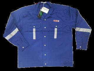 แบบเสื้อช็อป สีนำเงินแถบสะท้อนแสง