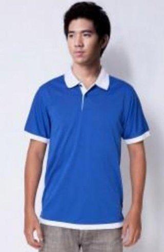 แบบเสื้อโปโลสีน้ำเงินแถบขาว