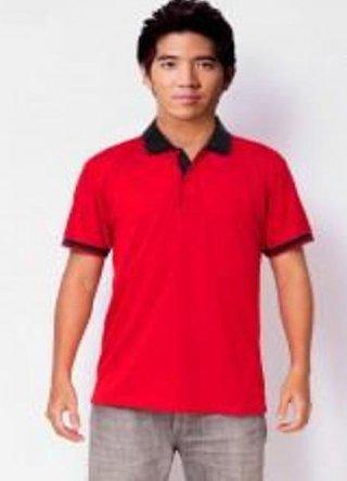 แบบเสื้อโปโลสีแดงแถบดำ