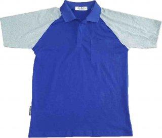แบบเสื้อโปโลสีน้ำเงินแขนเสื้อขาว
