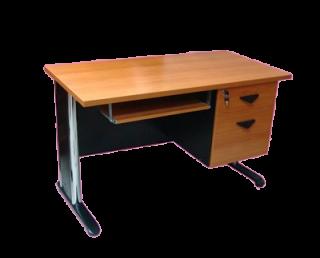 โต๊ะคอมขาเหล็กตัวแอล 2 ลิ้นชัก