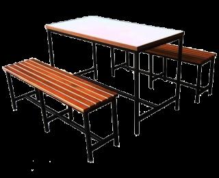 โต๊ะโรงอาหารไม้เมลามีน เก้าอี้ไม้ระแนง