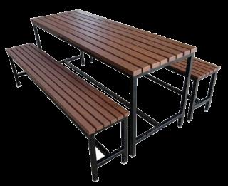 โต๊ะโรงอาหาร ไม้ระแนง ม้านั่งยาว 2 ตัว