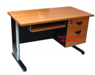 โต๊ะคอมเมลามีน ขาเหล็กชุปโครเมี่ยม