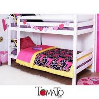 เตียง 2 ชั้น 3 5 ฟุต รุ่น LOW BUNK ไม้สนทำสีขาว