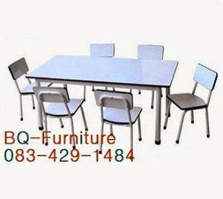 โต๊ะอนุบาล ขากลมพ่นสีอบ
