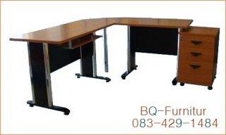 โต๊ะทำงานพร้อมตู้ลิ้นชัก ขนาด 80x160+60x140x75cm