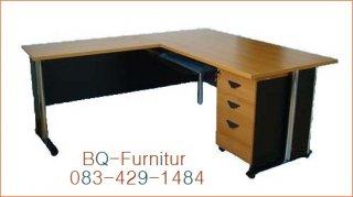 โต๊ะทำงานพร้อมตู้ลิ้นชัก ขนาด 80x160+50x180x75cm