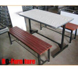 ชุดโต๊ะโรงอาหาร 6 ขา ไม้ระแนง