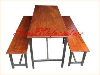 โต๊ะโรงอาหารไม้ยาง ขาเหล็ก 1.2 นิ้ว
