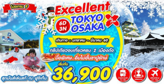 เที่ยวโตเกียว โอซาก้า 6 วัน 3 คืน (โปรแกรม F)