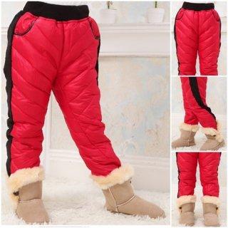 กางเกงบุขนเป็ดสีแดง สำหรับเด็ก