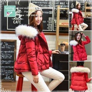 เสื้อกันหนาวขนเป็ดสีแดงแฟชันเกาหลี มีหมวกถอดไม่ได้