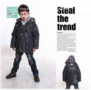 เสื้อกันหนาวขนเป็ดสำหรับเด็กเล็กสีดำ