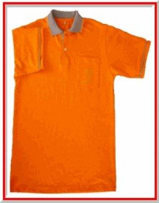 แบบเสื้อโปโลสีส้มปกคอเทา