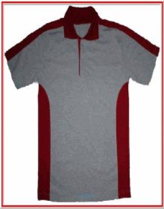 แบบเสื้อโปโลสีเทาแถบแดง