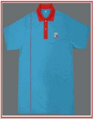 แบบเสื้อโปโลสีฟ้าแถบแดง