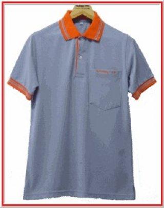 แบบเสื้อโปโลสีฟ้าแถบส้ม