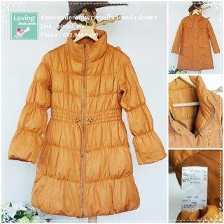 เสื้อโค้ทกันหนาวขนเป็ดสีส้ม ใส่ได้สองด้าน