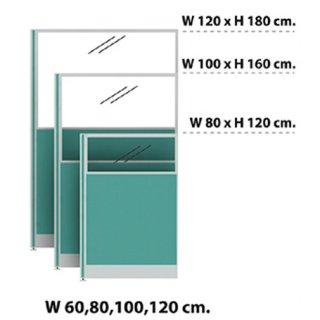 พาร์ติชั่นแบบครึ่งทึบครึ่งกระจกใส 60x120 เขียวอ่อน