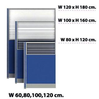 พาร์ติชั่นครึ่งทึบ/กระจกขัดลาย 60x120 สีน้ำเงิน
