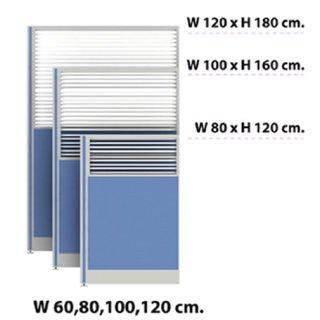 พาร์ติชั่นครึ่งทึบ/กระจกขัดลาย 80x180 สีฟ้าอ่อน