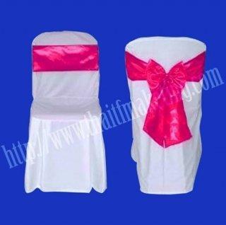 ผ้าคลุมเก้าอี้พลาสติกโบว์สีชมพู