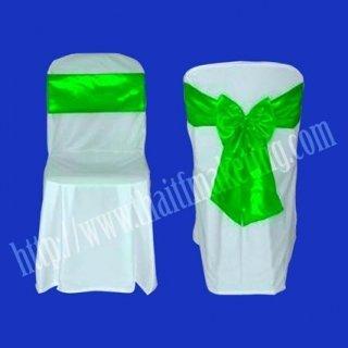 ผ้าคลุมเก้าอี้พลาสติกโบว์สีเขียว