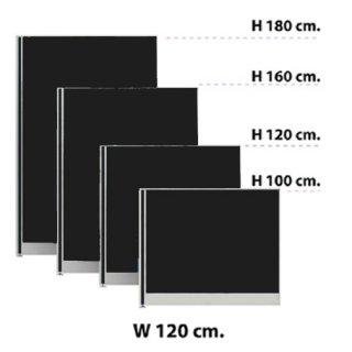 พาร์ทิชั่นแบบทึบ กว้าง 120 ซม. สีดำ