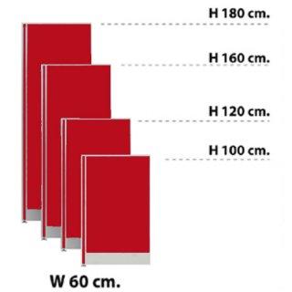 พาร์ทิชั่นแบบทึบ กว้าง 60 ซม. สีแดงสด