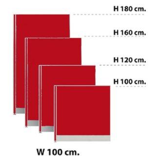 พาร์ทิชั่นแบบทึบ กว้าง 100 ซม. สีแดงสด