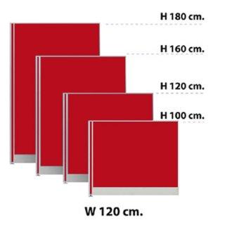 พาร์ทิชั่นแบบทึบ กว้าง 120 ซม. สีแดงสด