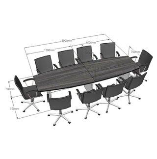 โต๊ะประชุม ขนาด 3000X1000X750 mm