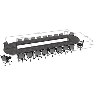 โต๊ะประชุม ขนาด 6800x2000x750 mm