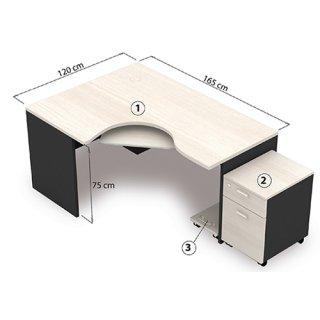 โต๊ะทำงาน ขนาด 120x165x75 cm