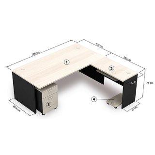 โต๊ะทำงาน ขนาด 200x100x75 cm