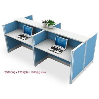 โต๊ะทำงาน 4 ที่นั่ง สีฟ้า