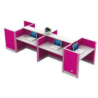 โต๊ะทำงาน 5 ที่นั่ง สีชมพู