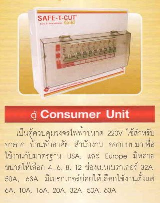 ตู้ควบคุมวงจรไฟฟ้า CONSUMER UNIT 220V