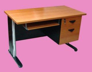 โต๊ะคอมเมลามีนขาโครเมี่ยม 2 ลิ้นชัก