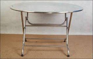 โต๊ะกลม หน้าและขาสแตนเลส
