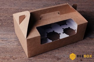 กล่องคัพเค้ก 6 ชิ้น พร้อมฐาน แบบหูหิ้ว